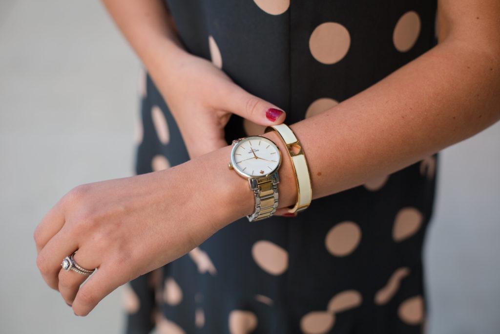 Polka Dot Dress Wrist Closeup