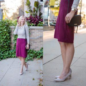 Burgendy JCREW Skirt Thanksgiving Lookbook