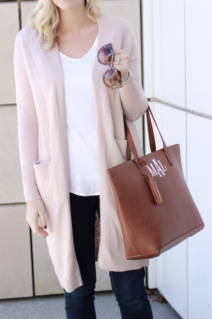 Old Navy Duster Cardigan Monogramed Bag Grey Booties Bag Shot