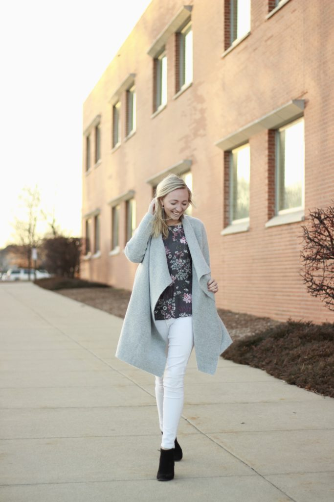 Grey Cardi Floral Blouse Look A Dash of Bruck 4