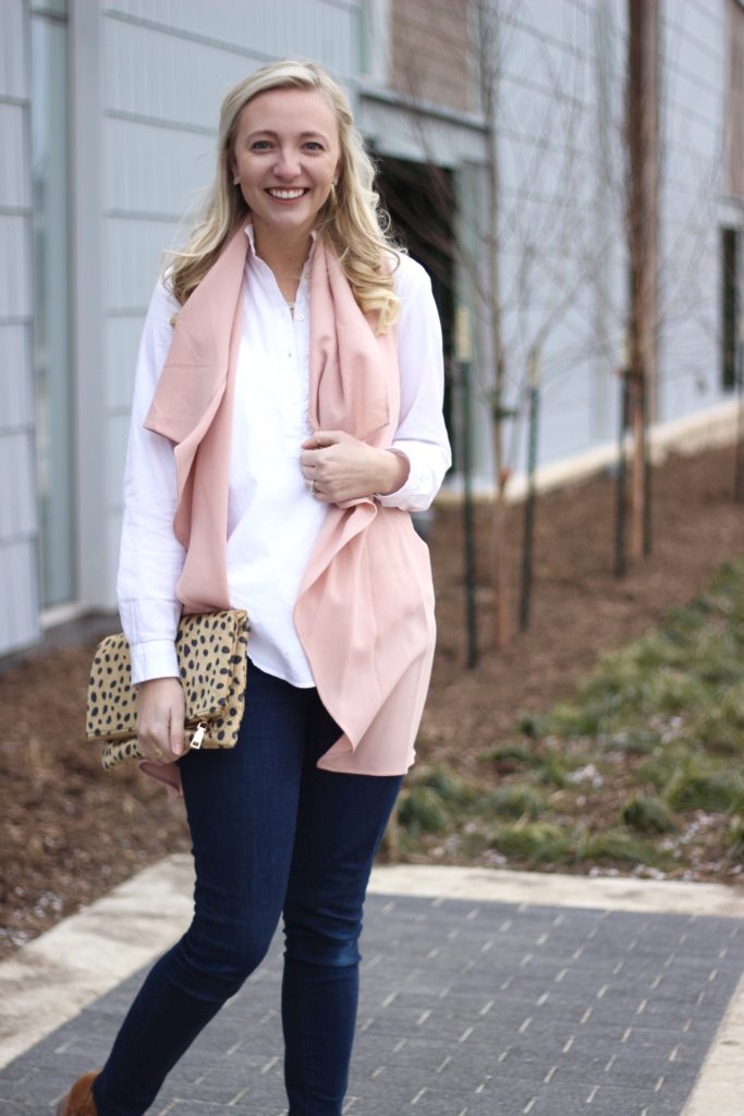 A Dash of Bruck Valentines Day look Pink Vest Leopard Clutch Photo 1